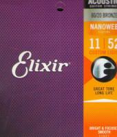 Струны для акустической гитары Elixir 11027 Nanoweb ( 011-052).